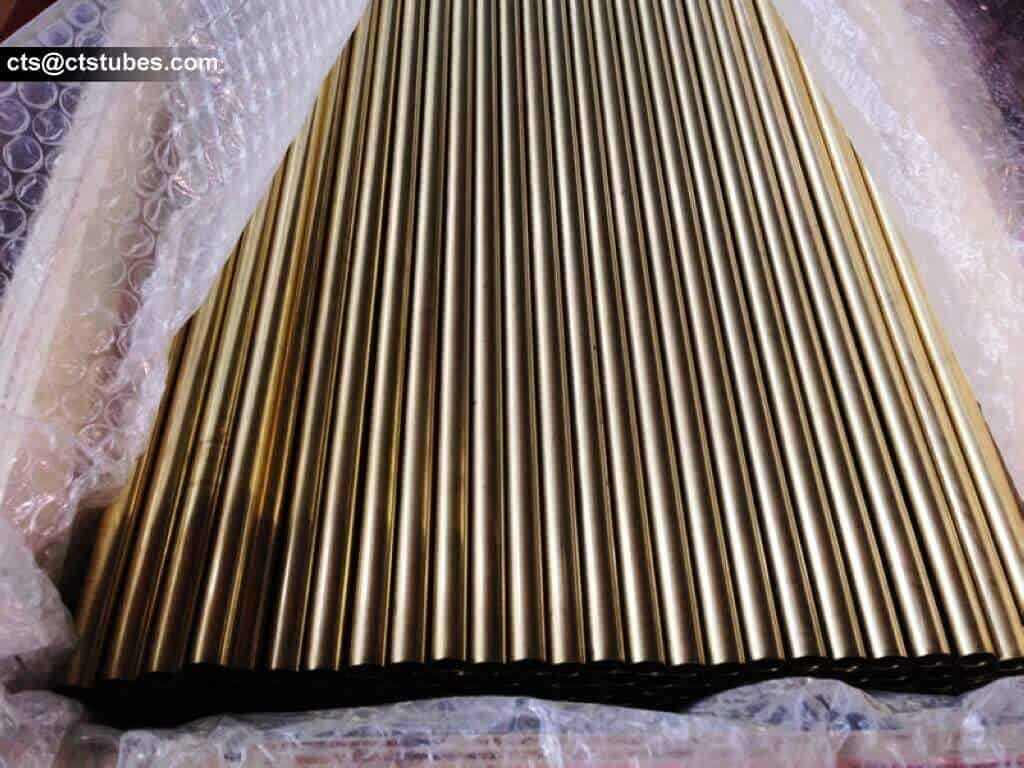 Copper Alloys/Nickel Seamless Tubes, Brass Tubes, wrapped with plastic bubble film, neatly arranged in the wooden box.