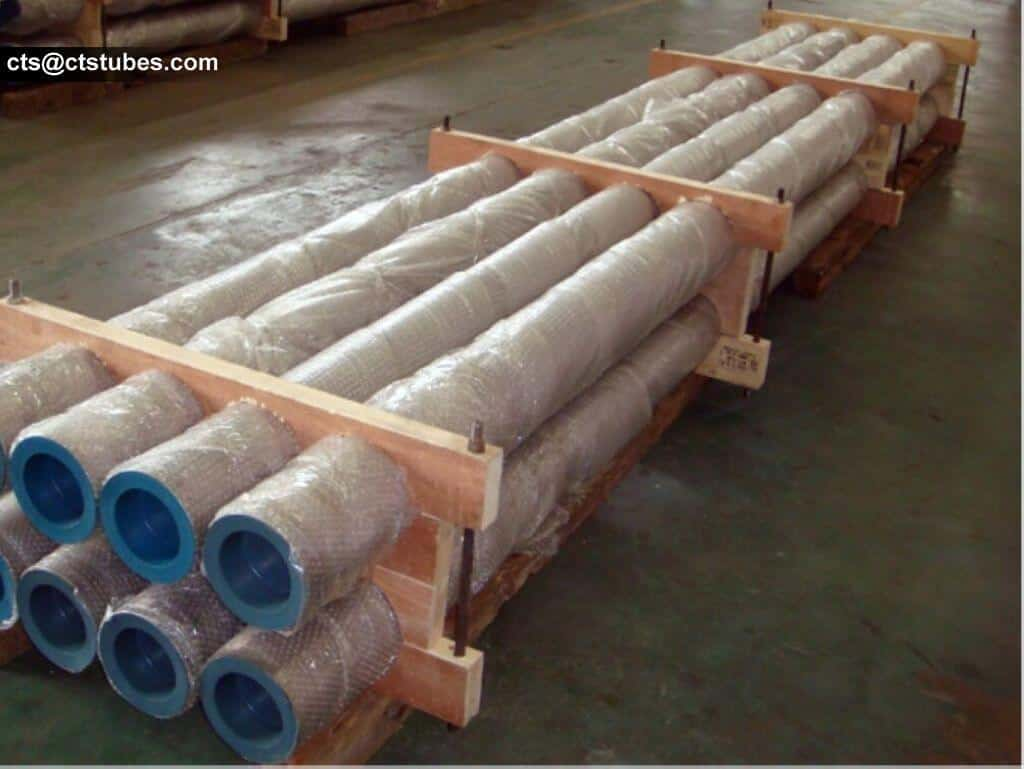 Titanium pipes firmly fixed with wooden board, bolts and nuts. Each pipe is wrapped with bubble films.