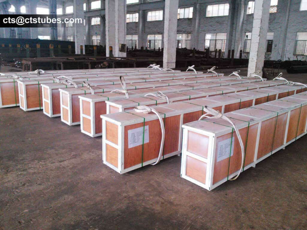 ASTM A179N ASME SA179N Seamless Cold Drawn Tubes packaged in wooden cases, with plastic belts, and fabric strings