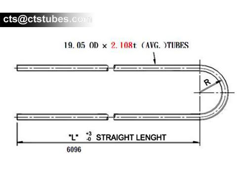 ASTM A213 Stainless U Bent Tube Drawing